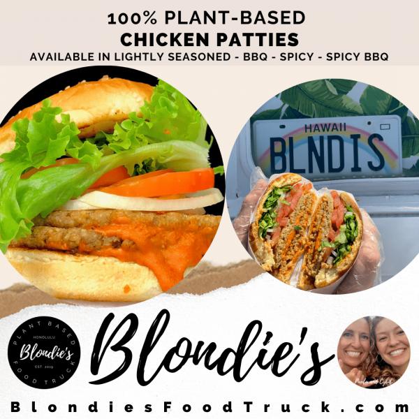 plant-based chicken patties blondie's food truck honolulu hawaii
