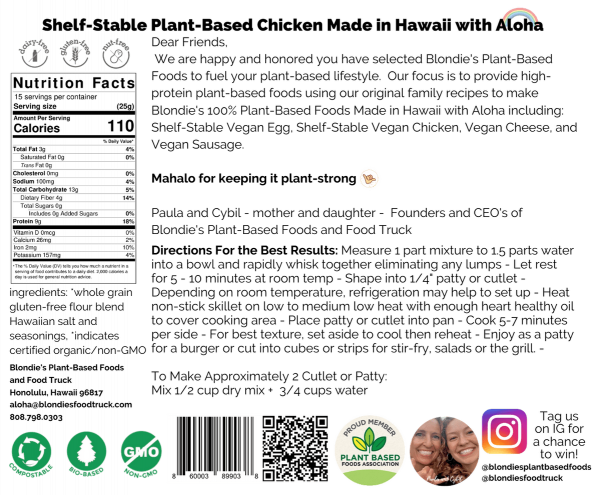 Blondie's Plant-Based Shelf-Stable Chicken Made in Hawaii with Aloha Label-Back