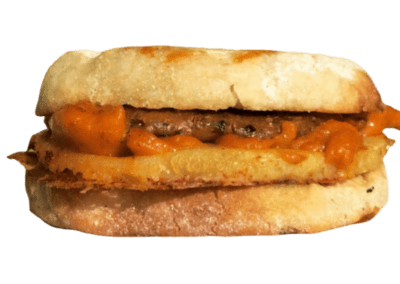 Blondie's Plant-Based Breakfast Sandwich Made with Blondie's Vegan Egg, Blondie's Vegan Cheese and Blondie's Vegan Sausage Made in Hawaii